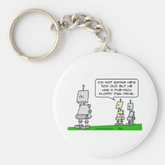 old robot floppy disk drive keychain