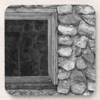 Old Rock Wall Window Grayscale Drink Coaster