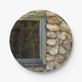 Old Rock Wall Window Paper Plate