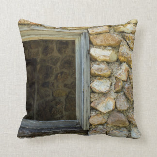 Old Rock Wall Window Throw Pillow