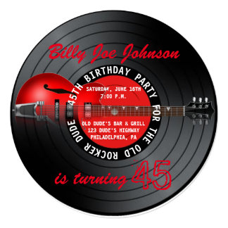 Old Rocker Dude Guitar Record 45th Birthday Party Card
