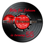 """Old Rocker Dude Guitar Record 55th Birthday Party 5.25"""" Square Invitation Card"""