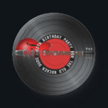 "Old Rocker Dude Guitar Record 55th Birthday Party Paper Plate<br><div class=""desc"">Old Rocker Dude Guitar and Retro Record Music Birthday Party theme design for you to personalize for your celebration.  If you require design assistance or would like this design with a different color scheme,  please contact us at info@oldrockerdude.com.</div>"