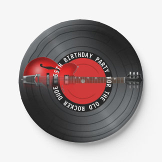 Old Rocker Dude Guitar Record 55th Birthday Party Paper Plate