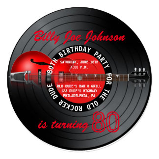 Old Rocker Dude Guitar Record 80th Birthday Party Card