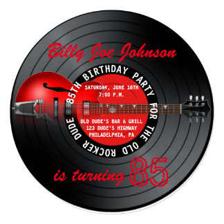 Old Rocker Dude Guitar Record 85th Birthday Party Card