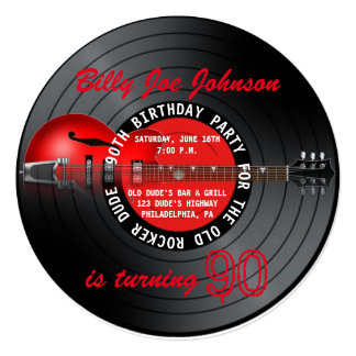 Old Rocker Dude Guitar Record 90th Birthday Party Card