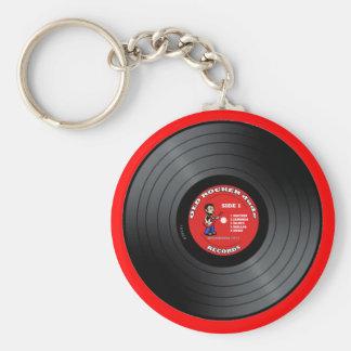 Old Rocker Dude Vinyl Record Keychain
