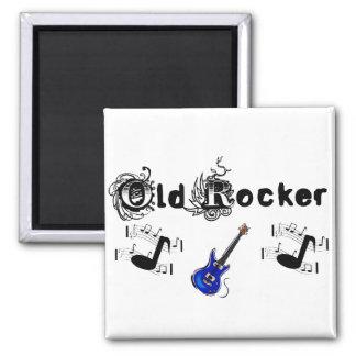 Old Rocker w music & blue guitar 2 Inch Square Magnet
