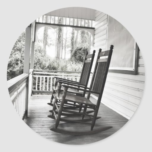 Old Rocking Chairs on Porch Classic Round Sticker  Zazzle