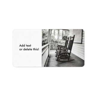 Old Rocking Chairs on Porch Label
