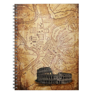 Old Rome Map and Colosseum Notebook