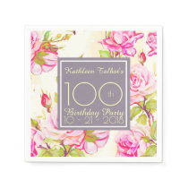 Old Roses 100th Birthday Party Paper Napkin