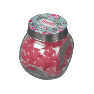 Old Roses Design Glass Jar Mother's Day Candy