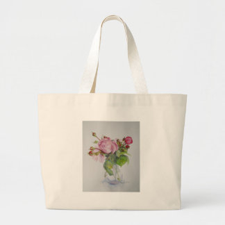 Old roses in watercolour large tote bag