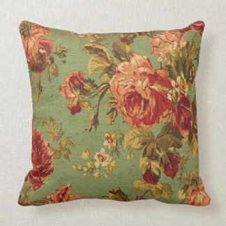 Old Roses on Green Square Pillow