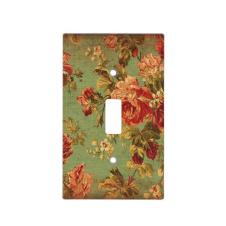 Old Roses on Green Vintage Inspired Light Switch Cover
