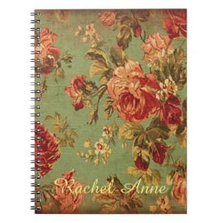 Old Roses on Sage Personalized Spiral Notebook