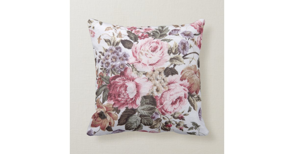 Throw Pillows Vintage Fabric : old roses vintage fabric throw pillow Zazzle