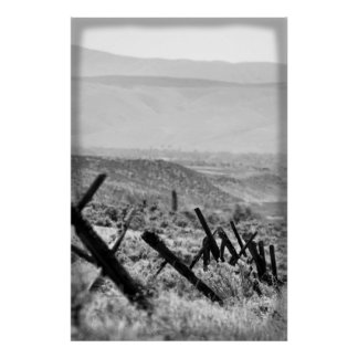 Old rugged fence - B&W Poster
