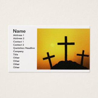 Old Rugged Wooden Cross on Calvary Hill at Sunset Business Card