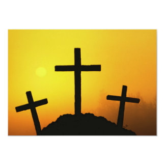 Old Rugged Wooden Cross on Calvary Hill at Sunset Card