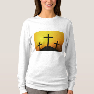Old Rugged Wooden Cross on Calvary Hill at Sunset T-Shirt