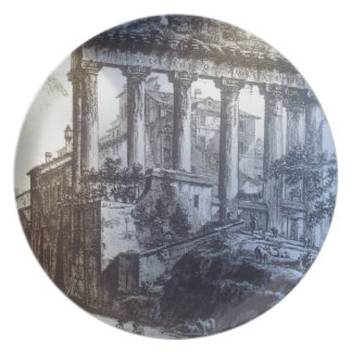 old ruins party plates