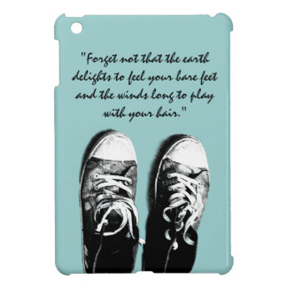 Old running shoes with inspirational quote case for the iPad mini