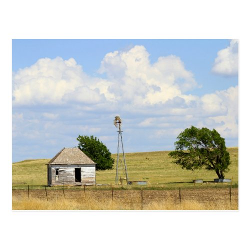 Old Rush County, Kansas, Farmhouse With Windmill Postcard