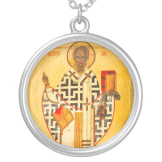 Old Russian icon of St.Nicholas Round Pendant Necklace
