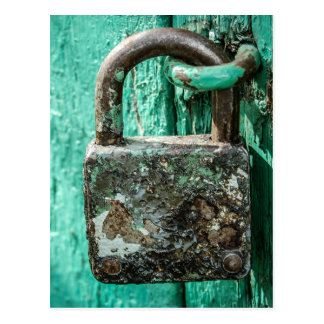 Old Rusted Lock Teal Aqua Blue Wooden Door Postcard