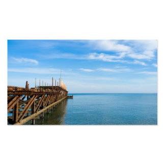 Old rusted sea pier business card