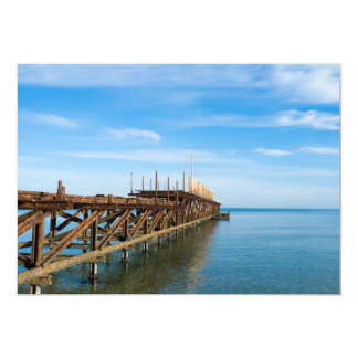 Old rusted sea pier card