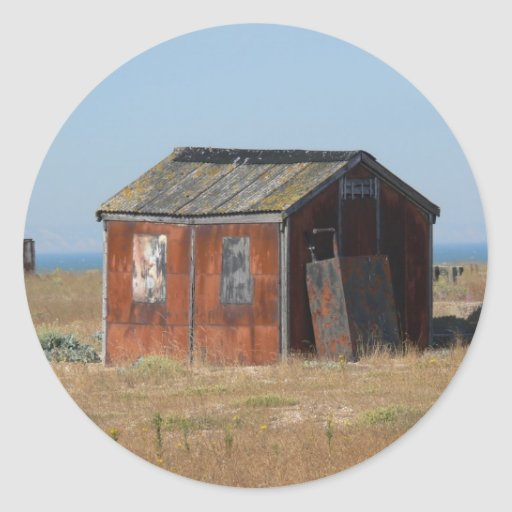 Old Rusted Shack Hut Cabinet Classic Round Sticker