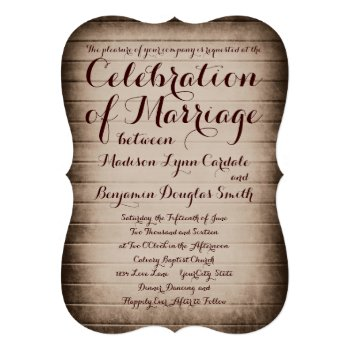 Old Rustic Barn Wood Country Wedding Invitations