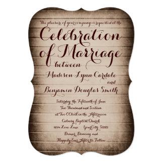 "Old Rustic Barn Wood Country Wedding Invitations 5"" X 7"" Invitation Card"