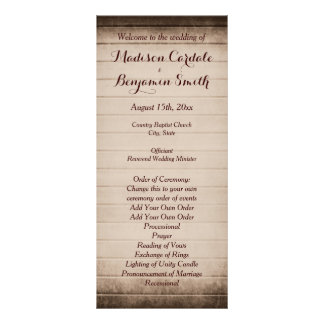 Old Rustic Barn Wood Wedding Program Template Full Color Rack Card