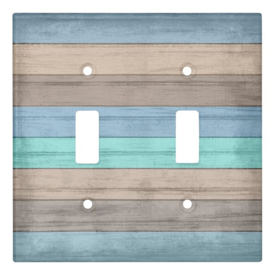 Old Rustic Beach Wood Nautical Stripes Light Switch Cover