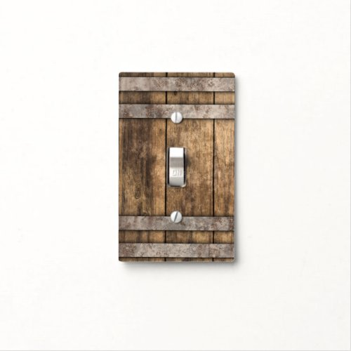 Old Rustic Brown Wood Light Switch Cover