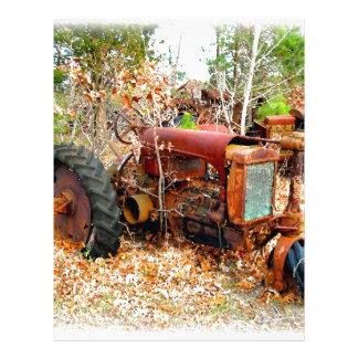 Old Rustic Farm Tractor in Junk Yard Letterhead