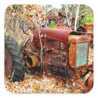 Old Rustic Farm Tractor in Junk Yard Square Sticker