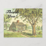 """[ Thumbnail: Old Rustic House, """"Thank You!"""" Postcard ]"""