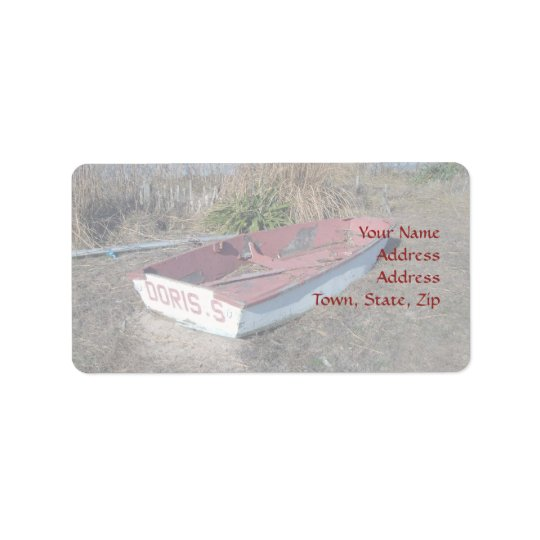 Old Rustic Row Boat Label