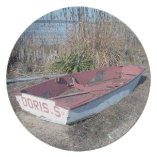 Old Rustic Row Boat Plate