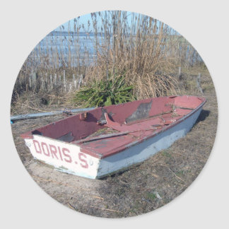 Old Rustic Row Boat Round Sticker