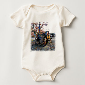 Old Rustic Steam Tractor Baby Bodysuit