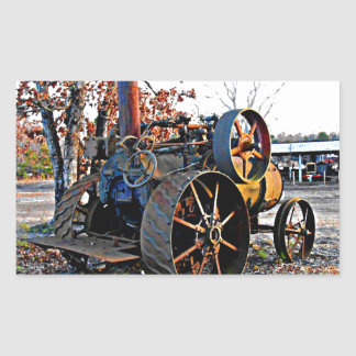Old Rustic Steam Tractor Rectangular Sticker