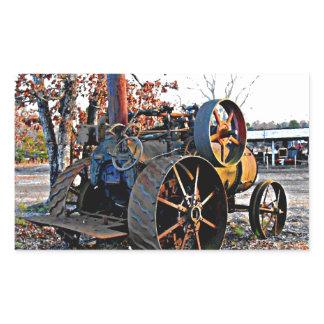 Old Rustic Steam Tractor Rectangular Sticker