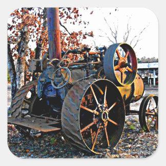 Old Rustic Steam Tractor Square Sticker